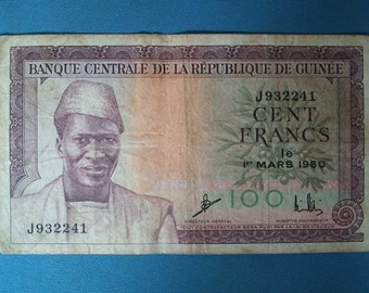 Guinea banknote, 100 Francs, March 1, 1960 - bank note Guinea 100 Francs, March 1, 1960