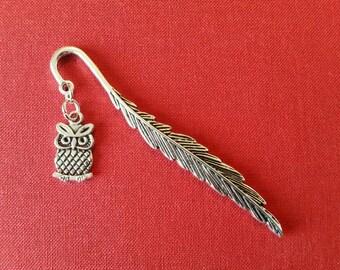 Owl bookmark, bird bookmark, feather bookmark, metal bookmark, book lover gift