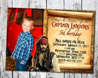 Pirates of the Caribbean Invitation, Pirates birthday, Pirates of the Caribbean party