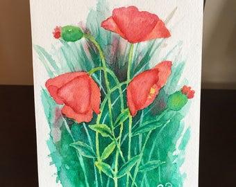 Pretty Poppies- Original Watercolor