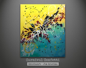 Yellow and Blue Original Abstract Painting with Paint Splatters