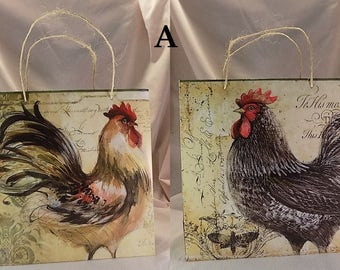 Rustic Country Chicken Calendar Paper Gift Bag