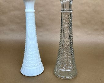 Vintage vases, milk glass vases, mini vase, Mother's Day gift, cottage chic decor, vintage decor, little vase, small case, clear vase