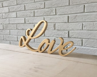 Script letters table sign LOVE for wedding table - gold Love, Love letters, glitter, wooden letters Love wall sign, table sign, wedding sign