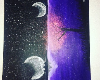 Purple Night Moon Canvas