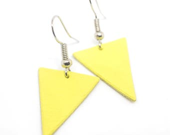 """""""The Deltas"""" yellow done hand leather earrings"""