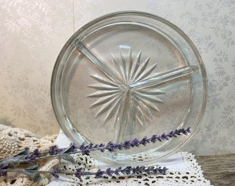 Vintage Divided Dish/Pressed Glass/Three Section/Relish Tray