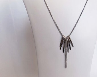 Silver Bar And Chain Tassel Attachable Necklace