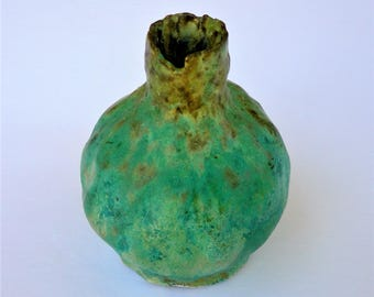 Handmade Small Pottery Vase - Turquoise and Brown