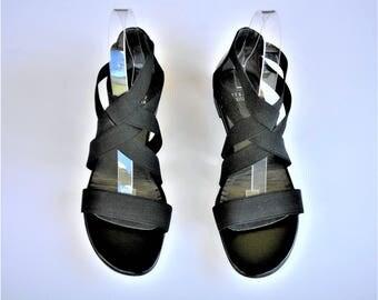 Stuart Weitzman Black Stappy Gladiator Sandals Leather Sole  - Size 8