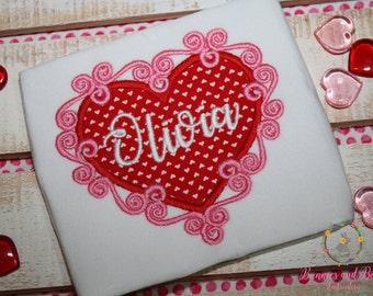 Girls Cute Applique Valentine's Day Shirt