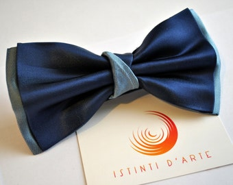 Handmade bow tie for men made up of blue silk duchesse