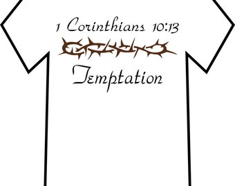 Men's Christian T-shirt, 1 Corinthians 10:13 Temptation