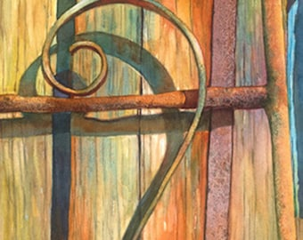 Architecture door, watercolor print art, 11x30, multi textured; metals, wood, rope, multiple bright colors by Phyllis Nathans