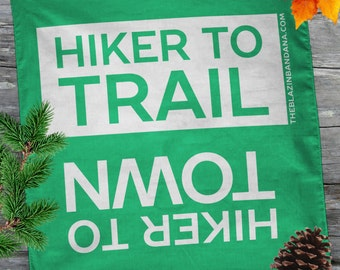 Hiker Bandana - Green - For Thru Hiking AT (Appalachian Trail), PCT, CDT Lightweight Outdoor Hiker to Town Hiker to Trail Bandanna