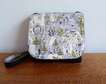 Children's Messenger Bag, Kids Messenger Bag, Girls Cross Body Bag, Forest Friends Print, Handmade Handbag, Fabric Purse