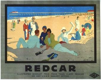 Vintage LNER Redcar Railway Poster A3/A2/A1 Print