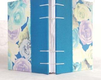A6 silk floral print Coptic stitch notebook sketchbook travel journal (11x15 cm) quaderno artigianale, blocco per schizzi
