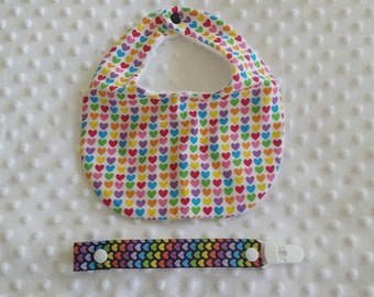 Baby Girl Dribble Bib and Matching Dummy Clip Combo
