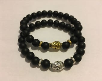 Buddha Bracelet - Gold Buddha Bracelet - Silver Buddha Bracelet - Mens Buddha Bracelet - Black Buddha Bracelet - Mens Beaded Bracelet - Bead