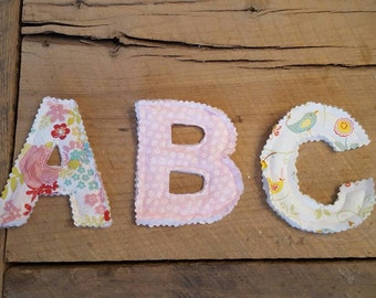 Pink Flowers Fabric Alphabet with Carrying Bag
