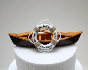 Canoe Wedding Cake Topper, Boat Wedding Cake Topper,