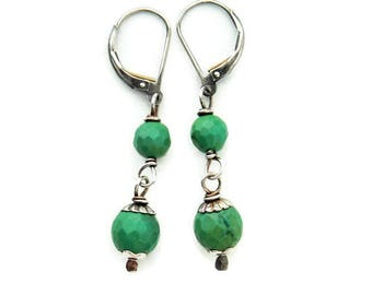 Green Turquoise Earrings. Sterling Silver. Gemstone Drop Earrings. Green Faceted Bead Dangles. Petite Lighweight Drops. Turquoise Jewelry.