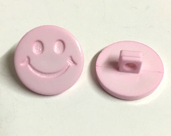 10 pink smiley face buttons, pink novelty buttons, pink baby buttons, smiley face buttons, pink resin buttons, sewing supplies, buttons uk