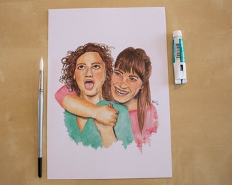 Abbi and Ilana - Broad City - Watercolour Portrait Print