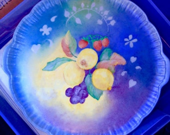 Lemon, fruit & blue tray