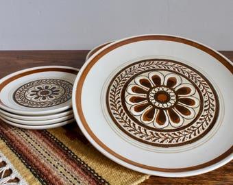Set of 8 Boho, 60s 70s Flower Power Stoneware Dinner Plates and Salad Plates, Dessert Plates, Ceramic Bohemian, Complete Set, Mid Century