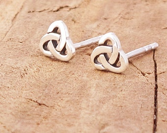 Sterling Silver Teeny Tiny Celtic Triquetra Knot Goddess Stud Earrings
