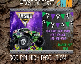 MONSTER Truck Invitation Monster Truck Party Monster Truck Birthday invitation Monster Truck Birthday Party Car Party custom printable BOYS