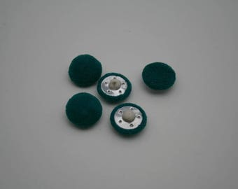Turquoise velvet buttons - Only 1 set of 5 - Vintage