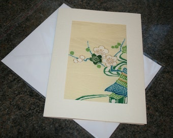 Vintage Japanese Silk Kimono Greetings Card