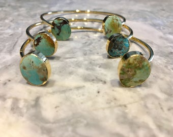 Turquoise Cuff Bracelet Raw Turquoise Bracelet Gold and Turquoise Stone Bangle, Druzy Style Stone Cuff, Genuine Turquoise/ mother g