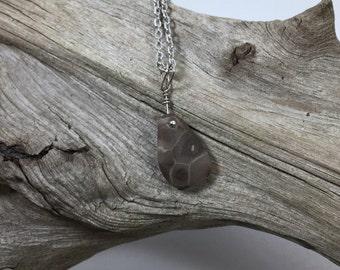 Petoskey stone necklace , naturally stone jewelry, rustic necklace, beachstone jewelry, fossil jewelry