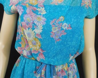 Vintage 70s Floral Maxi Gown Grecian Style Turquoise Bodice Overlay Medium