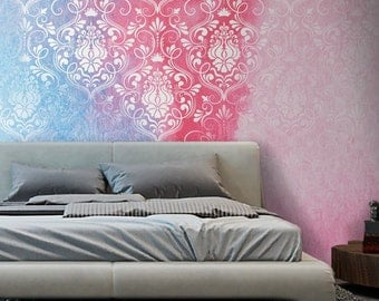 Removable Wallpaper Damask Wallpaper for Small Wall Mural | Accent Wallpaper