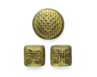 Ceramic Cabochons Set Yellow Matte 3 pieces