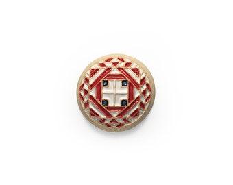 Ceramic Red White Blue II. Mandala Cabochon 1 piece