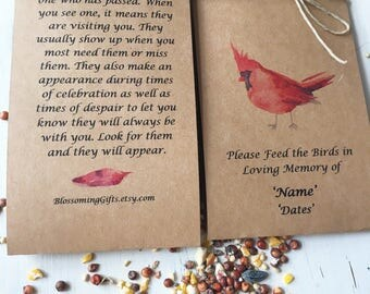 Funeral favor - bird seed funeral- bird seed favor- Funeral favor - memorial - wake - momento - Funeral Gift - Memorial keepsake - 100