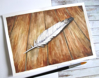 Watercolor Feather painting  Original Watercolor  White Feather  Nature Art  Bird Feather Art Still life Feather