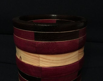 Handmade, segmented wood bowl