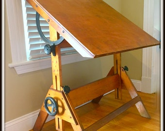 Drafting Table - vintage/indutrial/ large/ only LOCAL DELIVERY