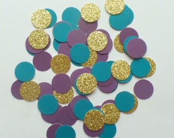 "Small Blue, Purple and Gold Glitter circle confetti 5/8"" (150 pieces) round, Decor, Wedding, Birthday, Under the Sea, themed birthday"