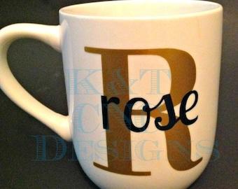 Custom Name Monogrammed Coffee Cup
