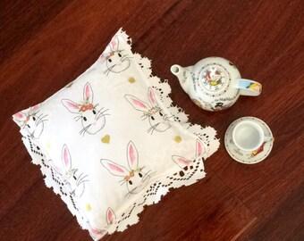 Nursery Decor Cushions - Wonderland Bunny Rabbit Fabric - White, Pink & Gold - Assorted Shapes - Baby Girl - Alice in Wonderland Inspired