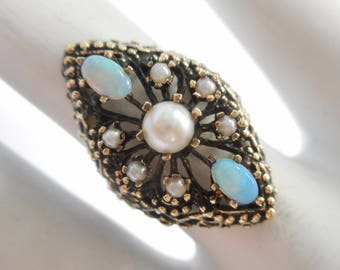 Opal Ring, Vintage Ring, Vintage Gold Ring, Pearl Ring, VINTAGE GENUINE 14k Yellow Gold Opal And Pearl Openwork Ring Sz 5.5 #2994