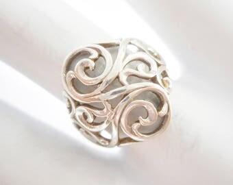 Kabana Ring, Sterling Ring, Kabana Scroll Ring, Kabana Filigree Ring, Kabana Sterling Silver Filigree Openwork Scroll Ring Sz 6.5 #3032